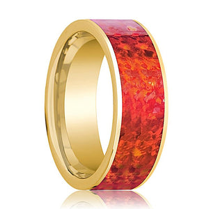Mens Wedding Band 14K Yellow Gold with Red Opal Inlay Flat Polished Design - AydinsJewelry