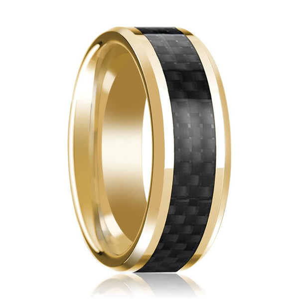 14K Yellow Gold Ring with Black Carbon Fiber Inlay Beveled Edge Wedding Band Polished Design - AydinsJewelry