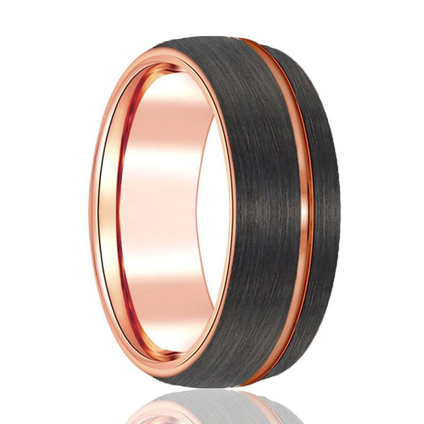 Gun Metal Brushed Tungsten Wedding Band - Rose Gold Tungsten Ring - 8mm - Dome Ring - Man Tungsten Ring