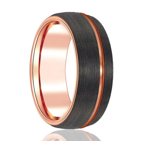 Image of Gun Metal Brushed Tungsten Wedding Band Rose Gold Tungsten Ring 8mm Dome Ring Man Tungsten Ring - AydinsJewelry