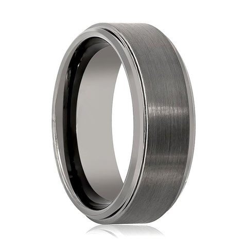 Image of Gun Metal Brushed Men's Tungsten Wedding Ring with Stepped Beveled Edges - Rings - Aydins_Jewelry