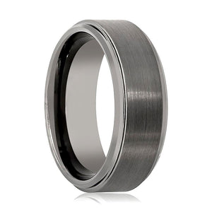 Gun Metal Brushed Men's Tungsten Wedding Ring with Stepped Beveled Edges - Rings - Aydins_Jewelry