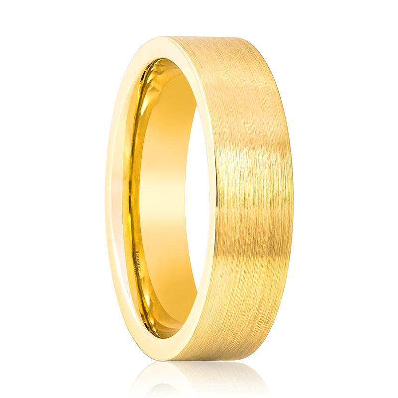 Flat Yellow Gold Tungsten Couple Matching Wedding Ring Brushed Finish - 4MM - 8MM - Rings - Aydins_Jewelry