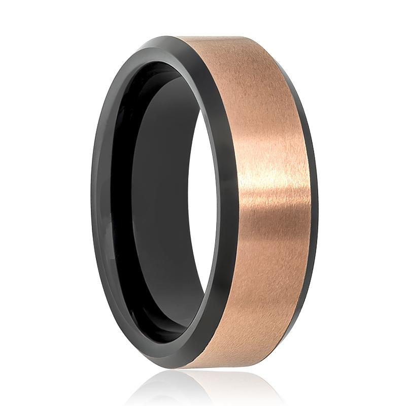 Black & Rose Gold Brushed Tungsten Wedding Ring for Men Beveled Tungsten Carbide Wedding Band - Rings - Aydins_Jewelry