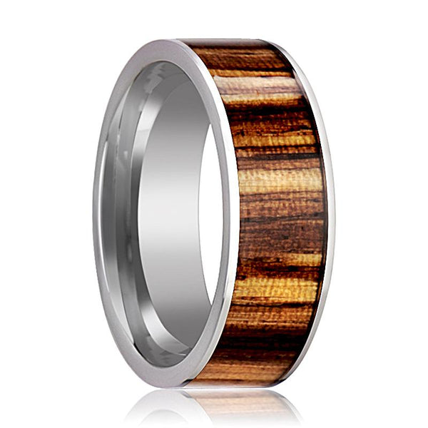 Tungsten Wood Ring - Zebra Wood Inlay - Tungsten Wedding Band - Polished Finish - 8mm - Tungsten Wedding Ring - AydinsJewelry