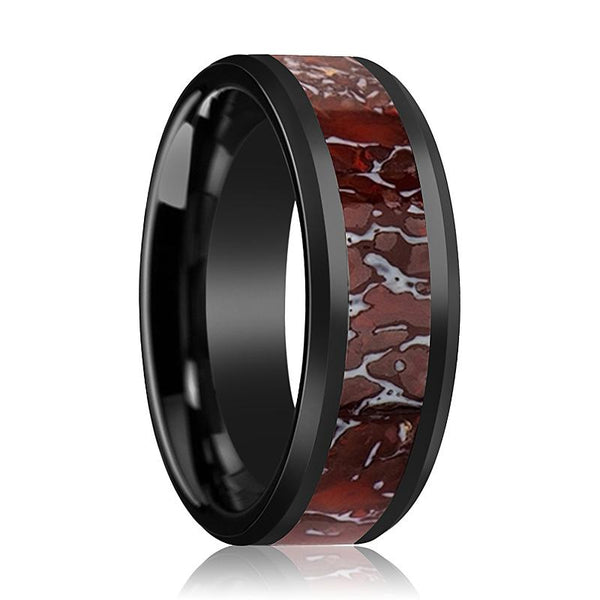 Dinosaur Bone Ring - Red Dinosaur Bone Inlay - Ceramic Wedding Band - Beveled - Polished Finish - 4mm - 8mm - Ceramic Wedding Ring - AydinsJewelry
