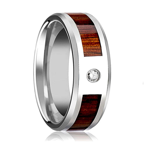 Image of Tungsten Wood Ring - Koa Wood - Diamond Wedding Band - Tungsten Wedding Band - Polished Finish - 8mm - Tungsten Wedding Ring - AydinsJewelry