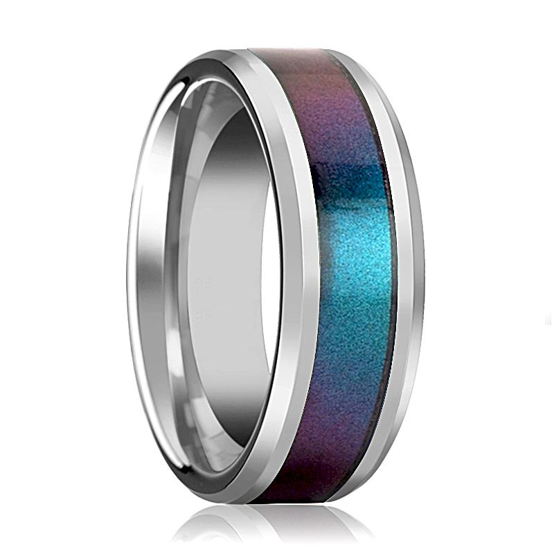Blue Purple Color Changing Inlaid Tungsten Wedding Band for Men Women with Bevels - 4MM - 10MM - Rings - Aydins_Jewelry