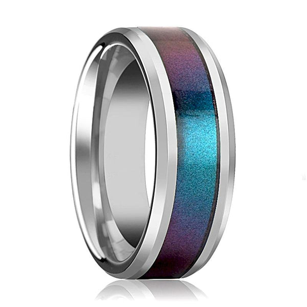 Tungsten Blue Purple Color Changing Inlay - Tungsten Wedding Band - Polished Finish - 4mm - 6mm - 8mm - 10mm - Tungsten Wedding Ring - AydinsJewelry