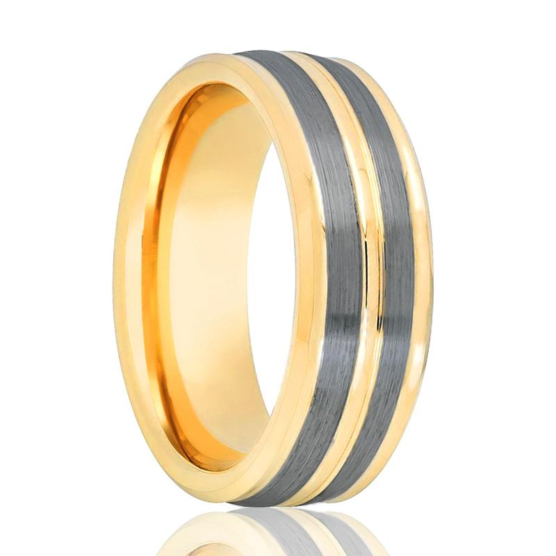 Gold Tungsten Carbide Men's Engagement Ring with Dual Brushed Pinstripe - 8MM - Rings - Aydins_Jewelry