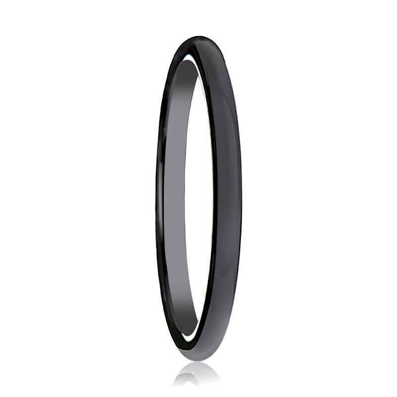 Black Ceramic Ring - Black Domed Shaped Ceramic Wedding Band for Women with Polished Finish - Ceramic Wedding Band - 2mm - AydinsJewelry