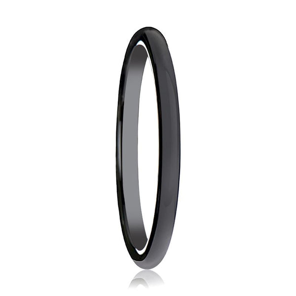 ALESSIA Black Ceramic Ring Domed Shaped Wedding Band for Women - AydinsJewelry