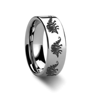 Dinosaur Stegasaurus Ring Laser Engraved Tungsten Wedding Ring - Rings - Aydins_Jewelry