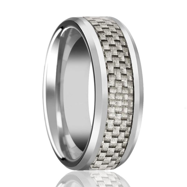 Aydins Mens Tungsten Wedding Band w/ White Carbon Fiber Inlay Beveled Edges 6mm, 8mm Tungsten Carbide Ring - AydinsJewelry