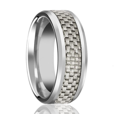 Image of AARON Silver Tungsten Couple Matching Ring with White Carbon Fiber Inlay & Beveled Edges - 4MM - 12MM - Rings - Aydins_Jewelry