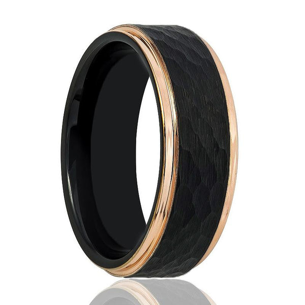 Aydins Black and Rose Gold Stepped Edge with Hammered Center Tungsten Mens Ring 8mm Tungsten Carbide Wedding Band - AydinsJewelry