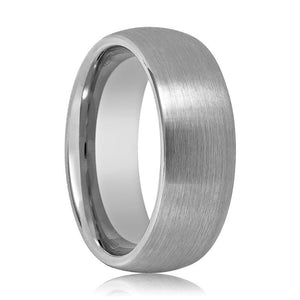 Tungsten Wedding Band - Men and Women - Comfort Fit - Silver Round Domed - Brushed Tungsten Carbide Wedding Ring - 2mm - 4mm - 6mm - 7mm - 8mm - 10mm - 12mm - AydinsJewelry