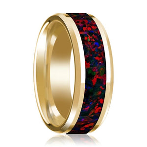 14K Yellow Gold Polished Beveled Wedding Ring Black and Red Opal Inlay