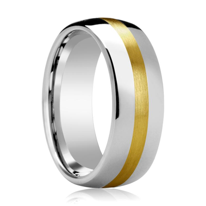 Domed Tungsten Wedding Band for Men with 14k Yellow Gold Stripe Inlay Polished Finish - 6MM - 8MM - Rings - Aydins_Jewelry