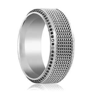 OGIER Steel Chain Black Diamond Titanium Wedding Ring