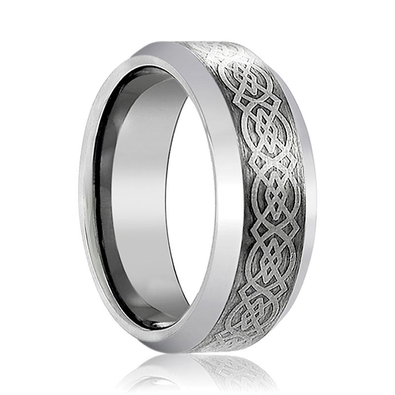 Celtic Knot Design Laser Engraved Tungsten Men's Wedding Band Brushed Edges - Rings - Aydins_Jewelry