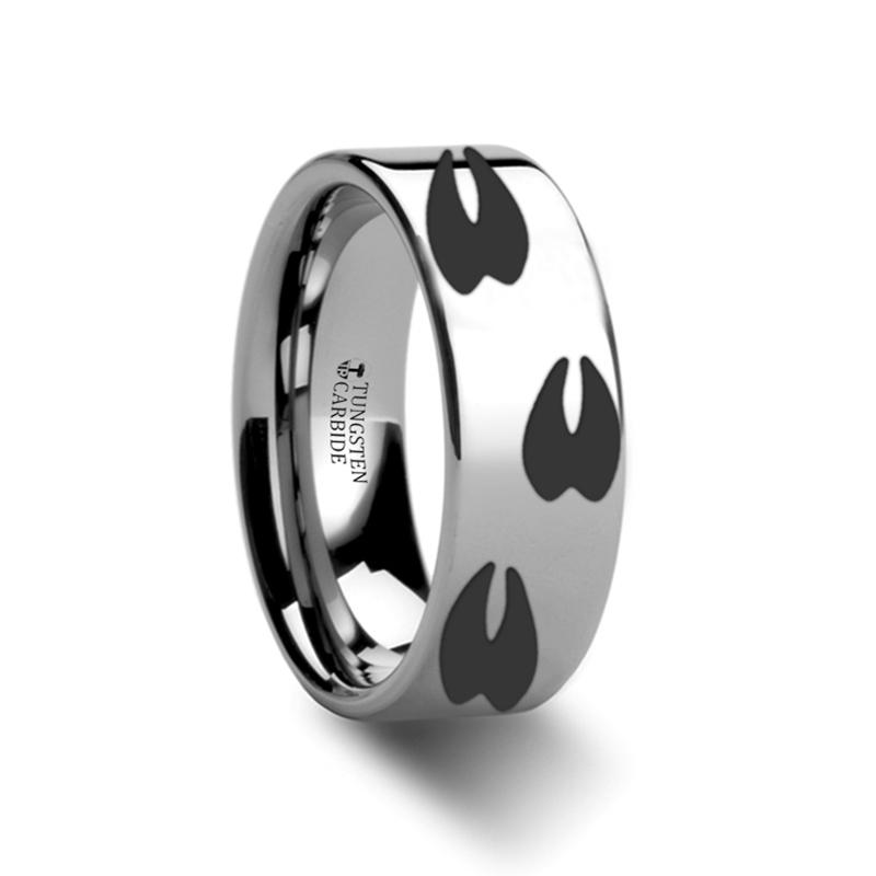 Deer Print Animal Track Engraved Flat Tungsten Couple Matching Wedding Ring - Rings - Aydins_Jewelry