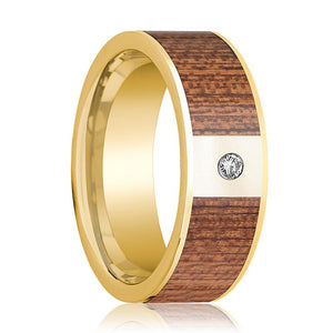 Mens Wedding Ring Polished 14k Yellow Gold Flat Wedding Band with Cherry Wood Inlay & Diamond - 8mm - AydinsJewelry