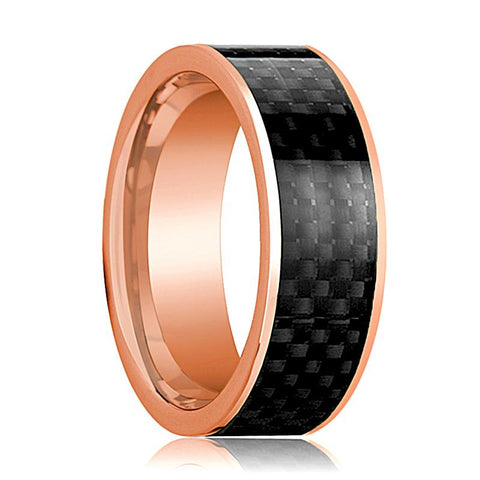 Mens Wedding Band 14K Rose Gold with Black Carbon Fiber Inlay Flat Polished Design - AydinsJewelry