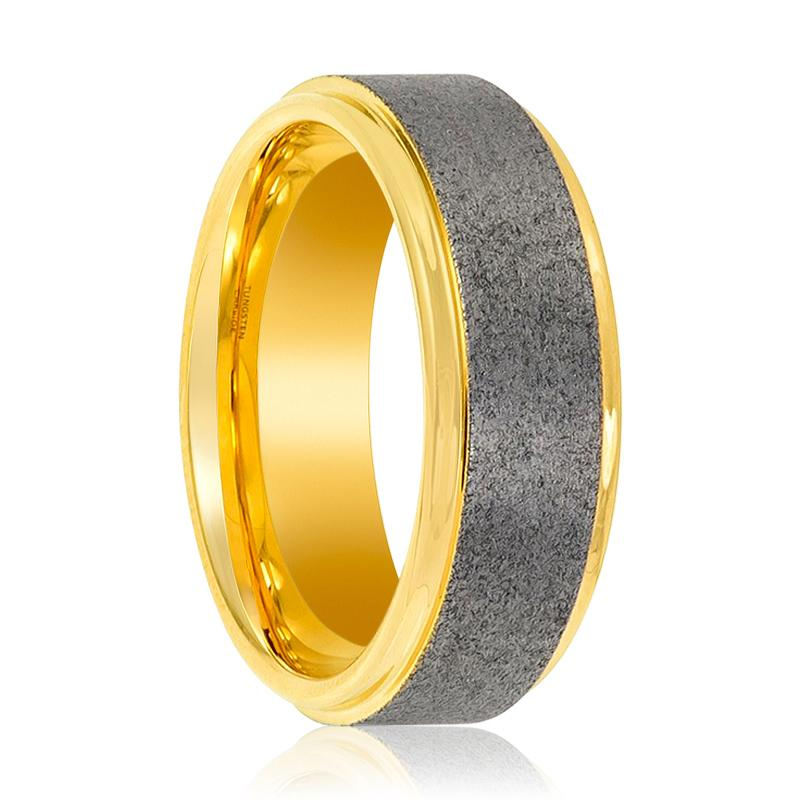 Gold Tungsten Wedding Ring Sandblasted Center - Rings - Aydins_Jewelry
