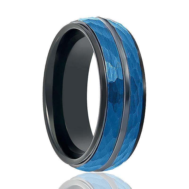 Blue Hammered Men's Tungsten Wedding Band with Black Groove in Center & Step Edges - 8MM - Rings - Aydins_Jewelry