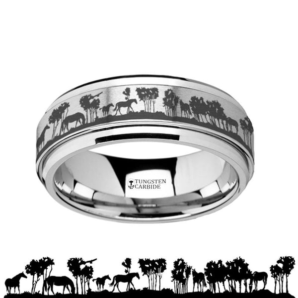 Animal Landscape Scene - Wild Horse - Spinning Tungsten Ring - Spinner Laser Engraved  - Tungsten Carbide Wedding Band - 8mm - AydinsJewelry