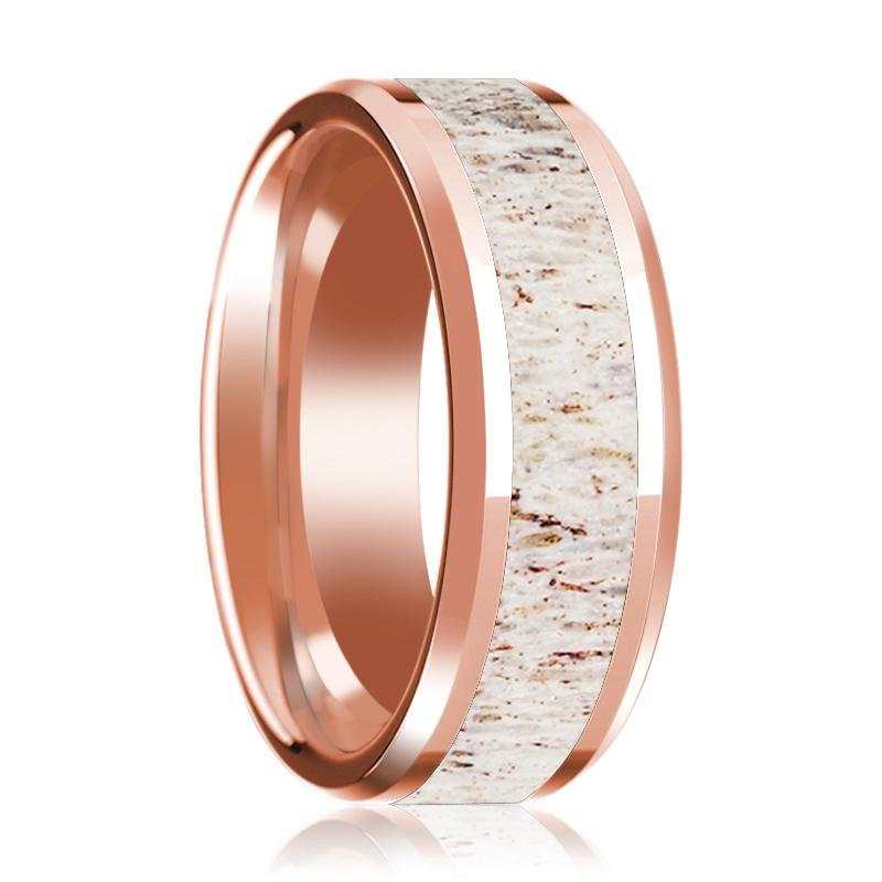 Beveled 14k Rose Gold Wedding Band for Men with White Deer Antler Inlay Polished Finish - 8MM - Rings - Aydins_Jewelry