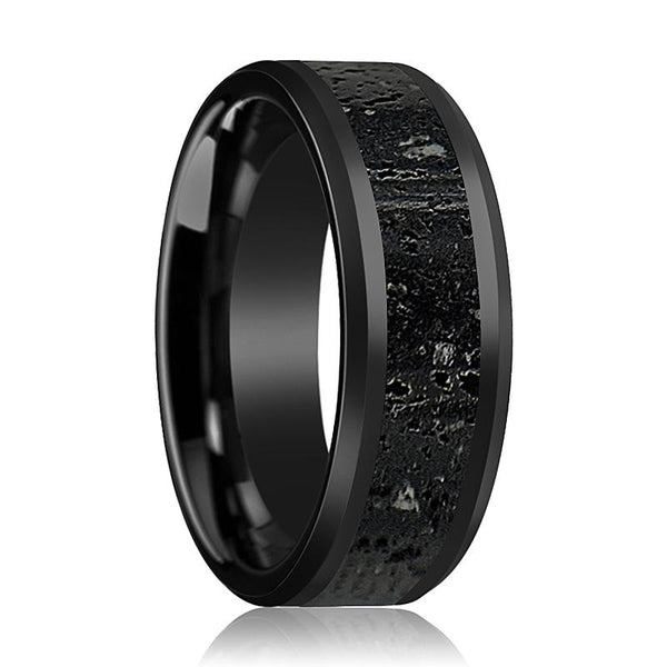 Black Ceramic Ring - Black & Gray Lava Rock Stone Inlay - Ceramic Wedding Band - Beveled - Polished Finish - 8mm - Ceramic Wedding Ring - AydinsJewelry