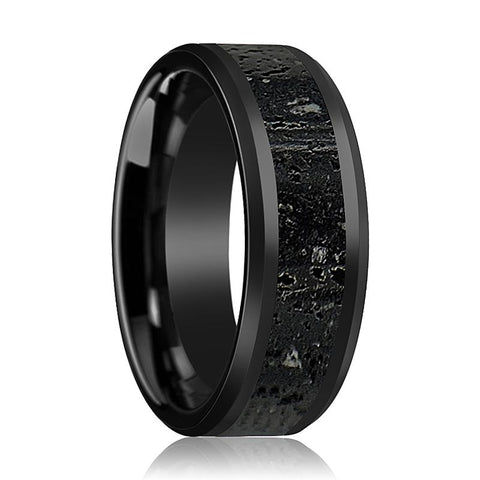 Image of ALEXANDER Polished Finish Ceramic Beveled Band With Black & Gray Lava Rock Stone Inlay - Rings - Aydins_Jewelry