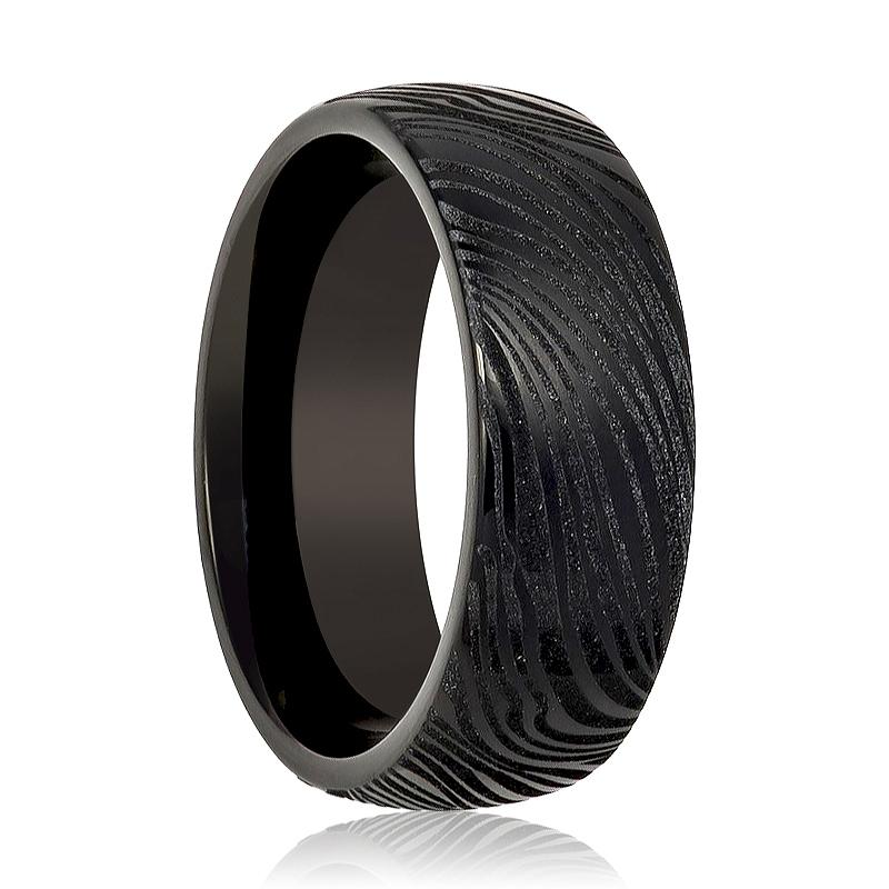 Aydins Tungsten Mens Ring Black Laser Carved Mokume Gane Effect Tungsten Carbide Wedding Band - Rings - Aydins_Jewelry