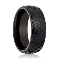 Aydins Tungsten Mens Ring Black Laser Carved Mokume Gane Effect Tungsten Carbide Wedding Band - AydinsJewelry
