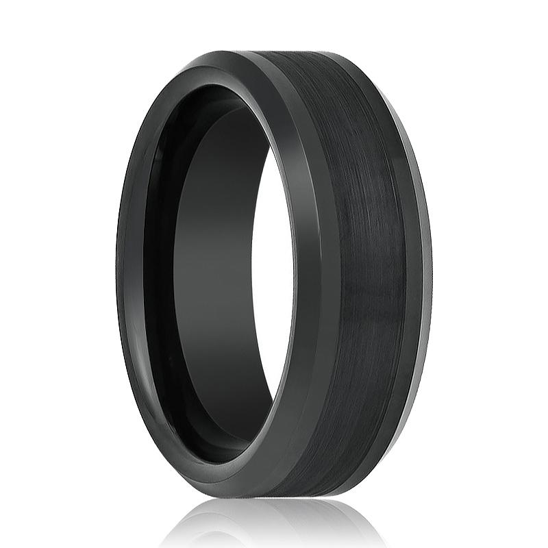 Aydins Tungsten Ring Black Brushed Center Beveled Edge Wedding Band 8mm Polished Tungsten Carbide Wedding Ring - Rings - Aydins_Jewelry