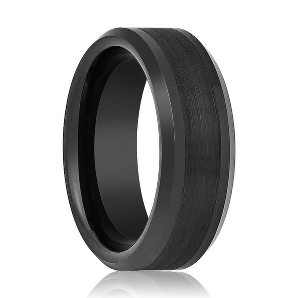 Aydins Tungsten Ring Black Brushed Center Beveled Edge Wedding Band 8mm Polished Tungsten Carbide Wedding Ring - AydinsJewelry