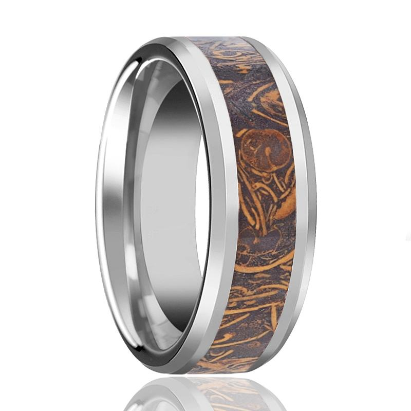 ALSTON Polished Men's Tungsten Wedding Band with Sanskrit Stone Inlay & Beveled Edges - 8MM - Rings - Aydins_Jewelry