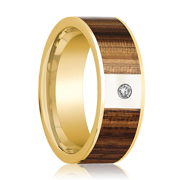 Mens Wedding Ring 14K Yellow Gold Polished Wedding Band with Zebra Wood Inlay & White Diamond Setting - 8mm - AydinsJewelry