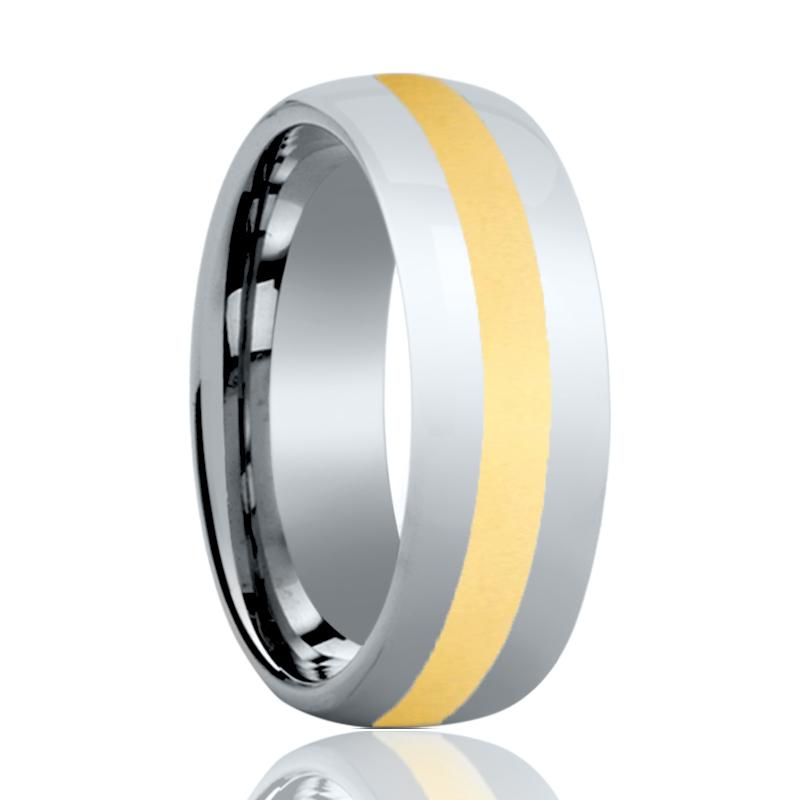 Domed Tungsten Carbide Couple Matching Ring with Gold Polished Center - 6MM - 8MM - Rings - Aydins_Jewelry