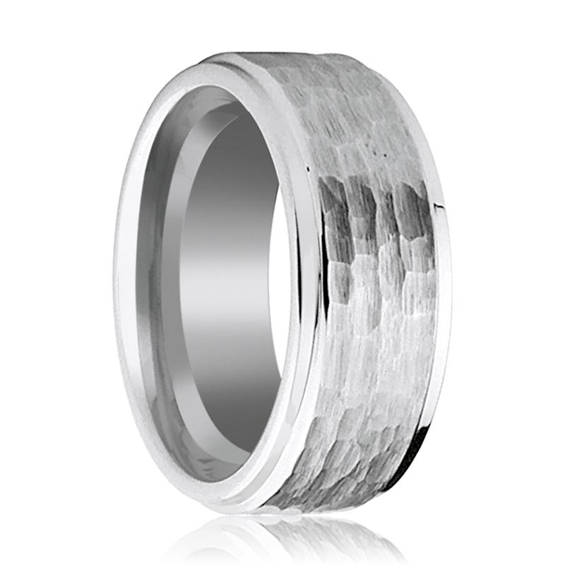 Extra Wide 9MM Tungsten Wedding Band for Men with Hammered Center & Stepped Edges - Rings - Aydins_Jewelry