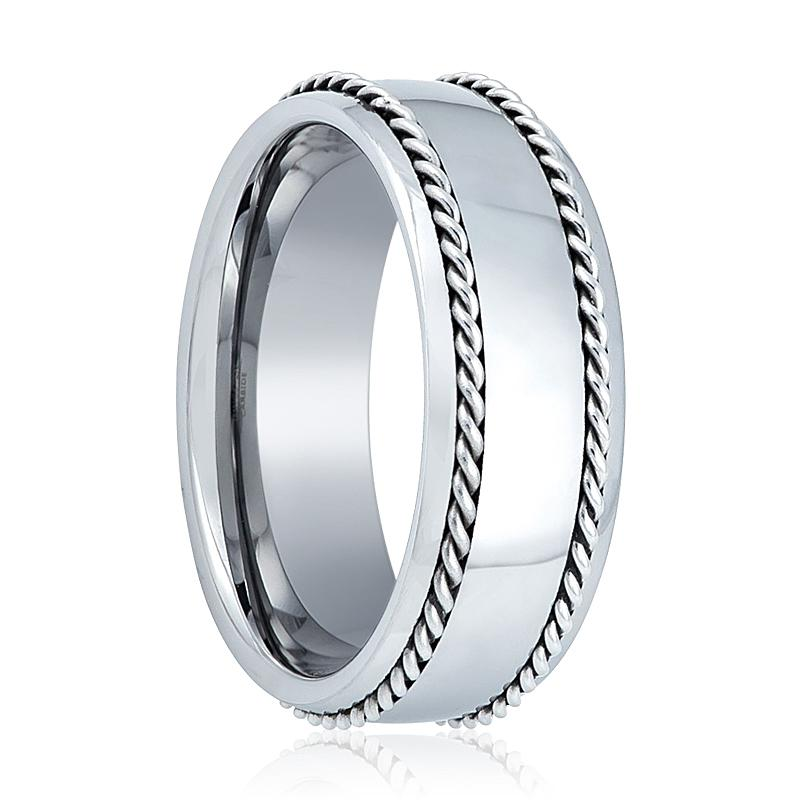 Men's Tungsten Wedding Band with Double Silver Sterling Rope Edges Polished Finish