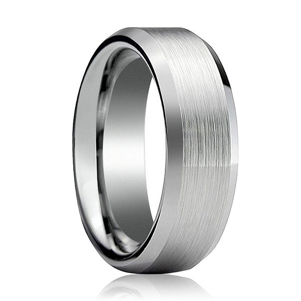 Aydins Tungsten Wedding Band Brushed Center Beveled Edge 6mm, 8mm, 10mm Tungsten Carbide Ring - AydinsJewelry
