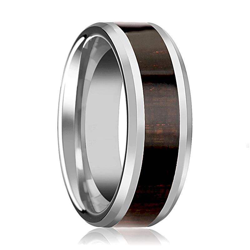 Ebony Wood Inlaid Men's Tungsten Wedding Band with Polished Bevels - 8MM - Rings - Aydins_Jewelry