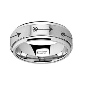 Arrow Engraved Spinner Tungsten Carbide Ring for Men with Beveled Edges - 8MM - Rings - Aydins_Jewelry