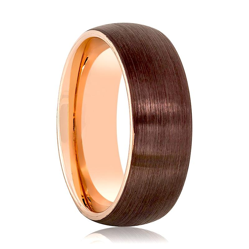 Domed Two-Tone Men's Tungsten Wedding Band with Rose Gold Inside and Brown Brushed Center - Rings - Aydins_Jewelry