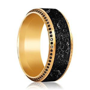 KHORNE 10K Yellow Gold Band Inlaid with Lava & Polished Beveled Edges Set with Black Diamonds - 10MM - Rings - Aydins_Jewelry