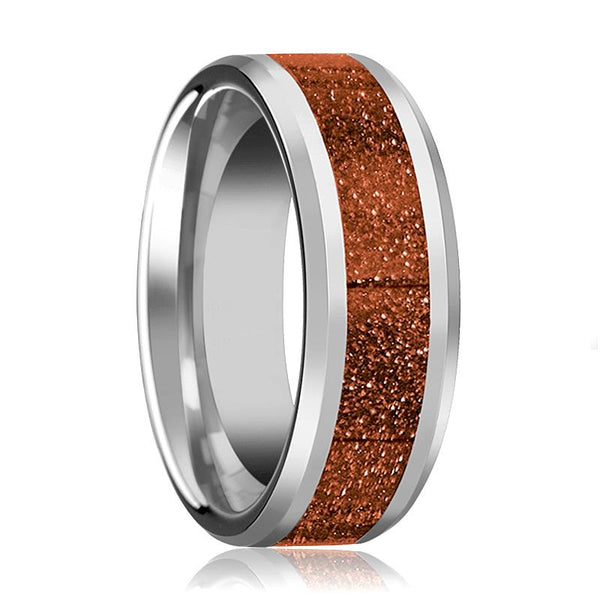 Tungsten Orange Goldstone Inlay - Tungsten Wedding Band - Beveled - Polished Finish - 8mm - Tungsten Wedding Ring - AydinsJewelry