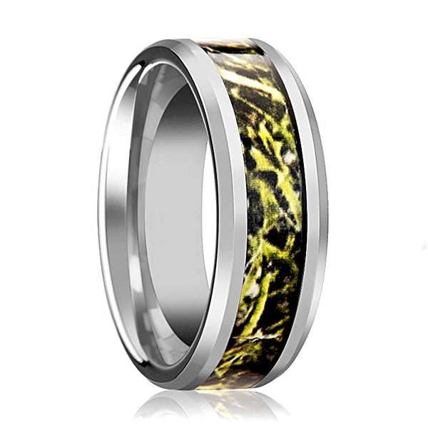Tungsten Camo Ring - Green Marsh Camo - Tungsten Wedding Band - Beveled - Polished Finish - 8mm - Tungsten Wedding Ring - AydinsJewelry